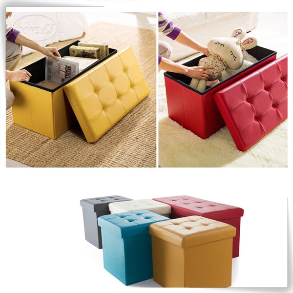 Square pu leather foldable long storage bench