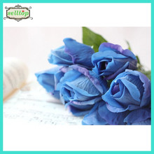 45cm real touch silk fake blue roses