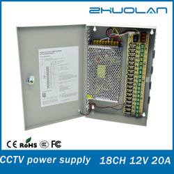 shipping from china ac to dc 12volt 20amp 240watt 18 channel cctv power supply with metal box