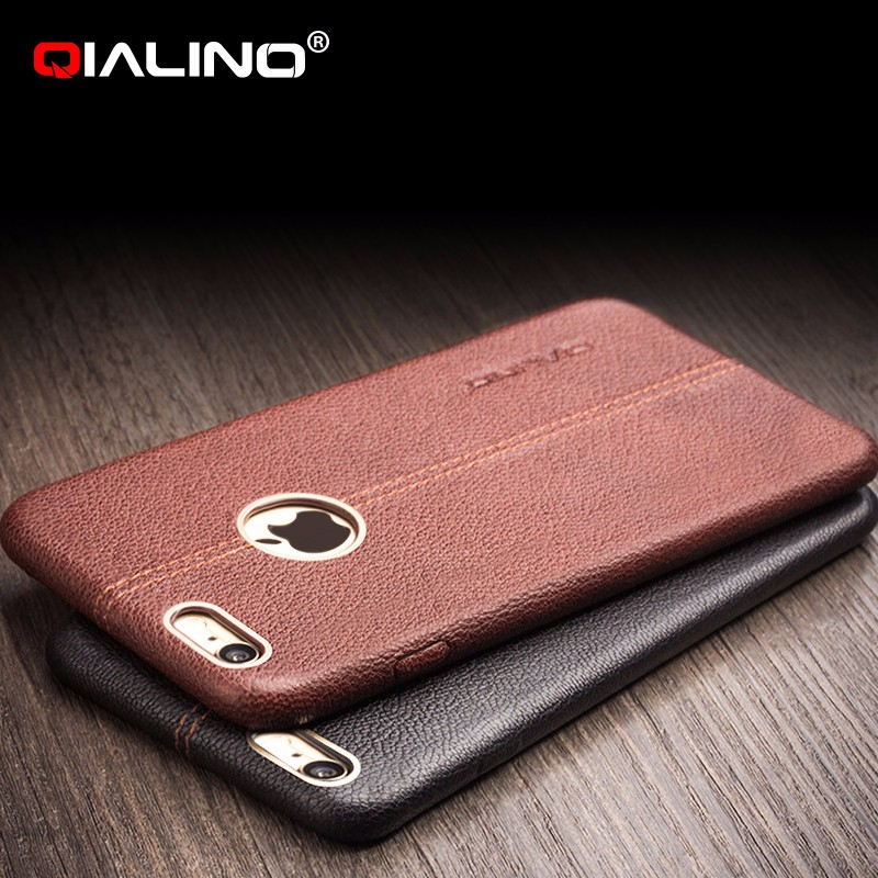 QIALINO Dropshipping Phone Case, Ultra Slim Genuine Leather Back Case For iPhone 6 6s Plus
