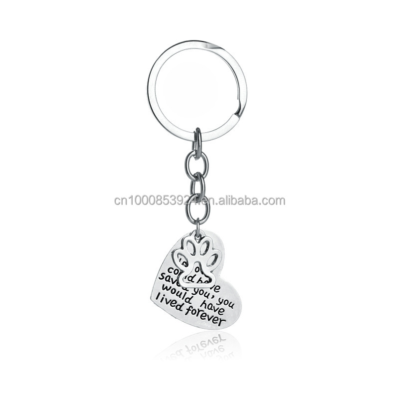 Pet Memorial Jewelry Hand Stamped If Love Could Have Saved You Would Have Lived Forever Heart Paw Print Key Chains Key Ring
