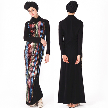2019 new design crafted shinny high quality sequins wholesale jubba robe jalabiya dubai collection modest women wear