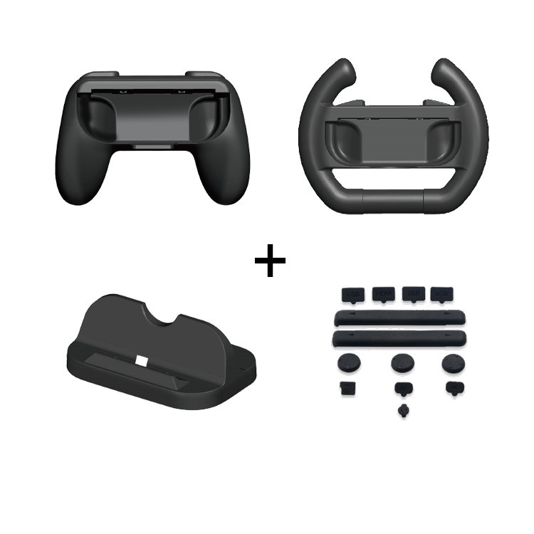 Super game kit for Nintendo Switch Gamepad Controller Grip / Racing steering wheel / Charging Station Stand and Rubber Plug