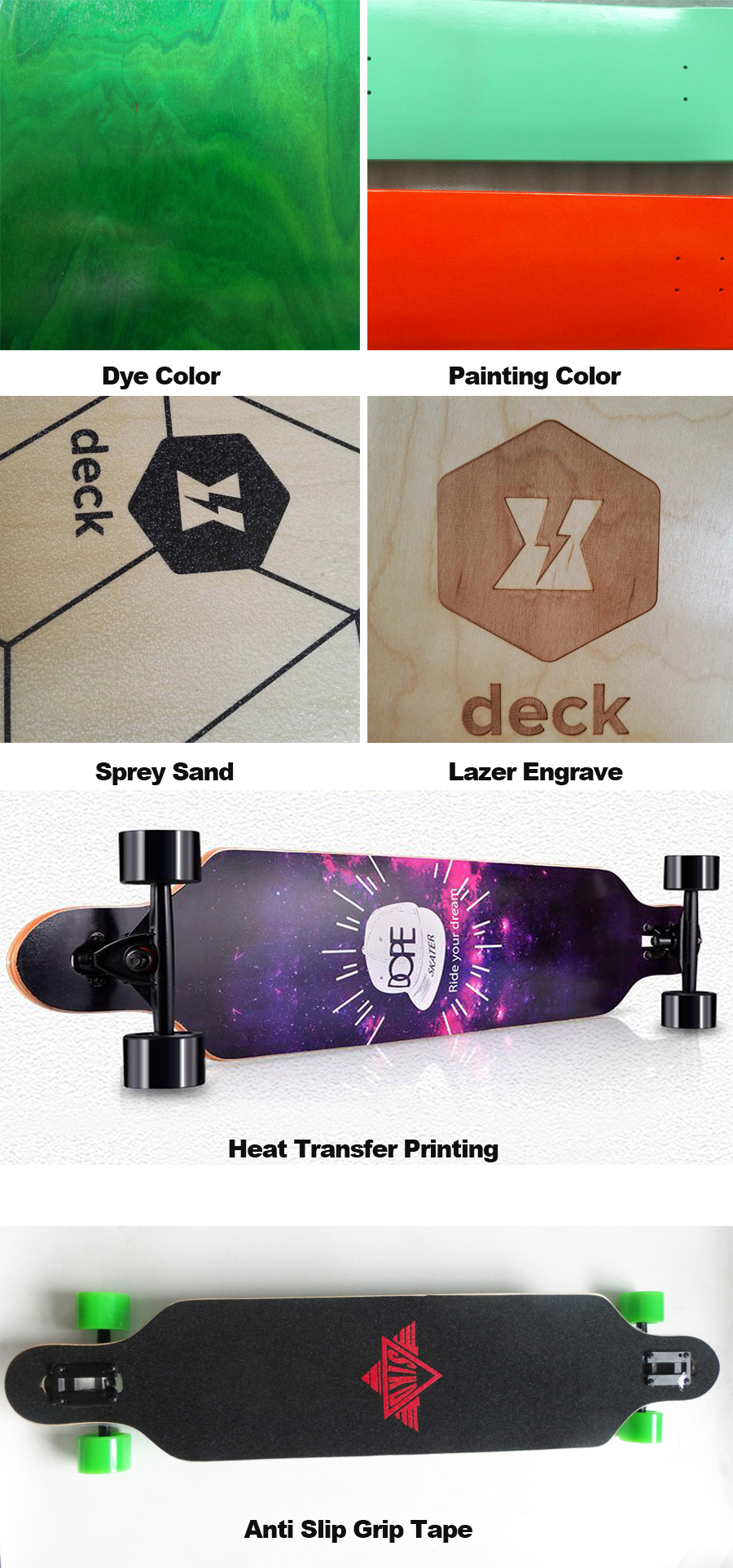 wholesale cheap longboard deck maple long board shape customized size logo graphics