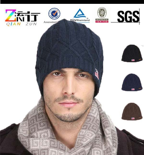 Discount Hot Sale New Mens Winter Cool Caps Handmade Wool Beanie Caps and hats with flag pattern