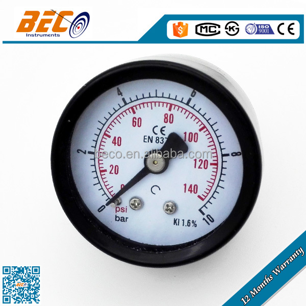 (Y-40D) 40mm colorful double scale dial type black steel material center back bourdon sedeme pressure gauge