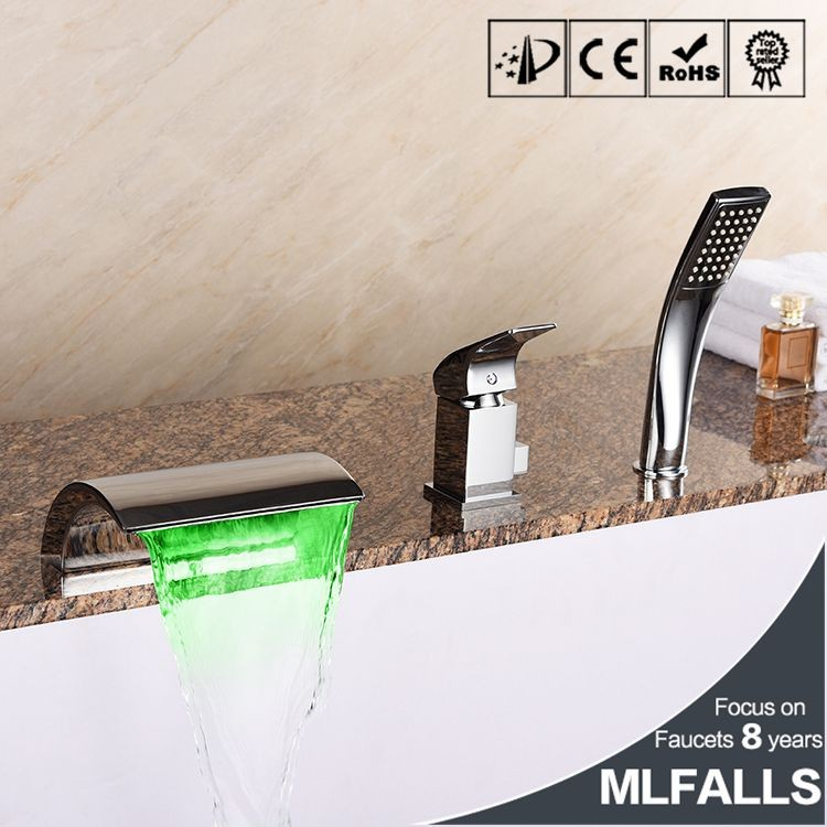 Hot Sale Led Color Conversion 3 Holes Waterfall Spout Deck Mounted Bathtub Shower Faucet