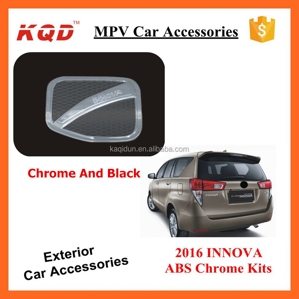 ABS Plastic TOYOTA INNOVA NEW 2016 Chrome And Black Gas Tank Cover Oil Tank Fuel Tank Accessories