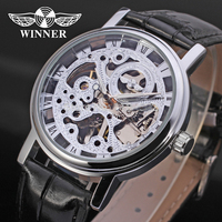 WN001 Winner Men's Skeleton Watches Auto Luxury Casual Watch Transparent Mechanical Watches New