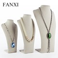 FANXI china supplier beige color MDF wooden jewlery bust mannequin jewelry display necklace bust