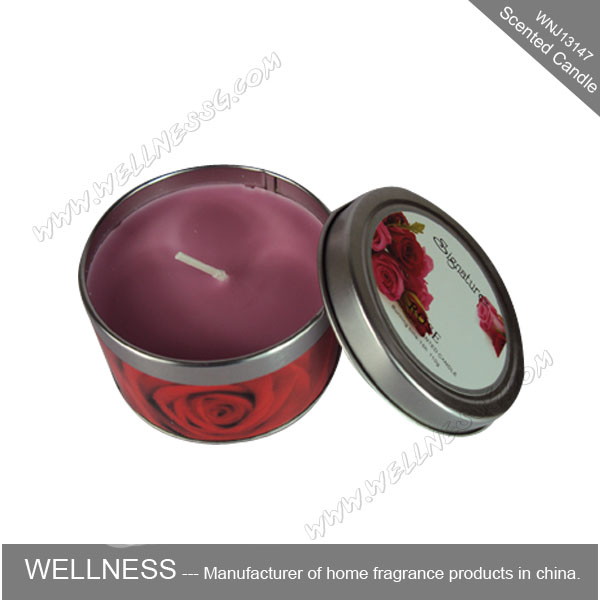 wholesale personalize rose fragrance scented tin candle