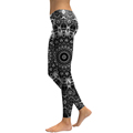 New Arrival Women Mandala Flower 3D Printed Skeleton Woman Cool Fashion Slim Elastic Trousers Leggings