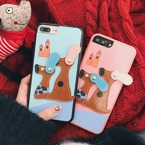 Creative cute cartoon 360 protective cellphone case couple soft TPU 3D dog pattern design phone case for iPhone 6 7 8/6p/7p X