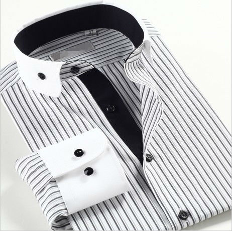 men stripe dress shirt / shirt / shirts of 2014 latest shirt designs ,wholesale custom fancy mens black white dress shirts