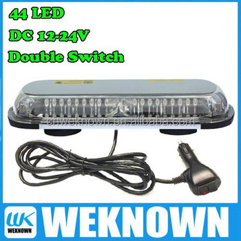 DC12V-24V 44 LED 44W Magnets Emergency Strobe Lightbar Amber/Blue ,8 Flash way LED warning Light