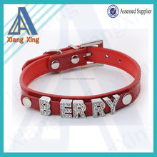 High quality cool letter charm attached leather pets and dogs collar
