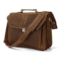 Quality First Drop Shipping Top Grade Multifunctional Fashion Mens Vintage Laptop Bags Fit For 14'' Laptop #7083B
