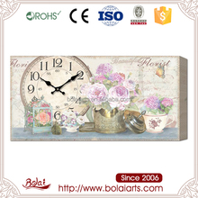 Vintage rose design canvas painting wooden free time vintage wall clock for hotel