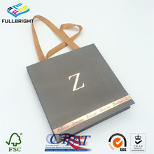 Customer exquisite coated art paper gift bag with the customer logo gold foil hot stamping
