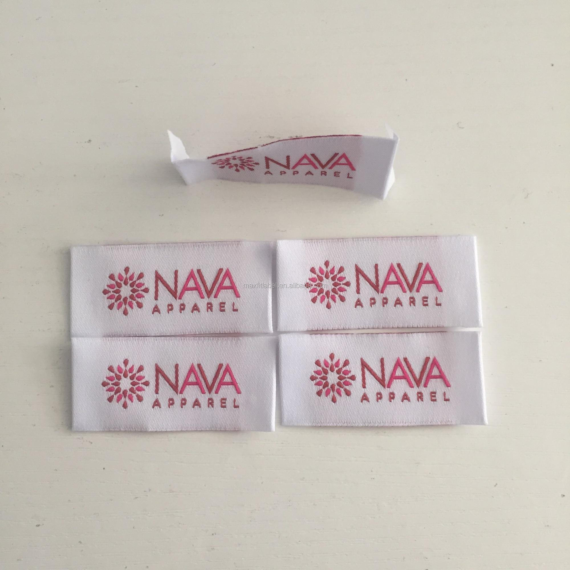 Custom Woven Label Direct Factory No MOQ High Quality Cheap Woven Label for Bag Garments
