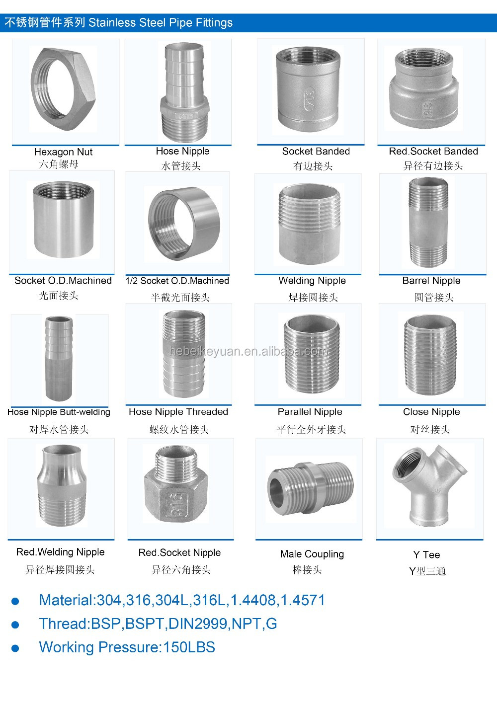 Direct Factory of Class 150 Stainless Steel Screwed Threaded Pipe Fittings