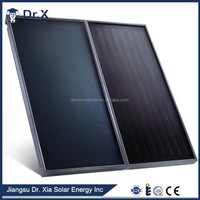 Flat panel solar collector for commercial hot water system for hotel