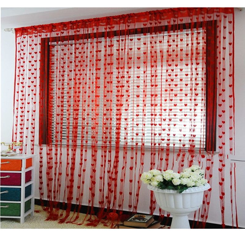 Red Love Heart curtain polyester rope string panel room divider wedding drapery divider door 100cm*200cm cheap string curtain