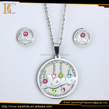 Manufacturers china custom stainless steel charm necklace earring jewelry set with necklace set