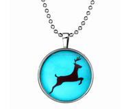 2016 Christmas gift type flame deer design flashing light necklace