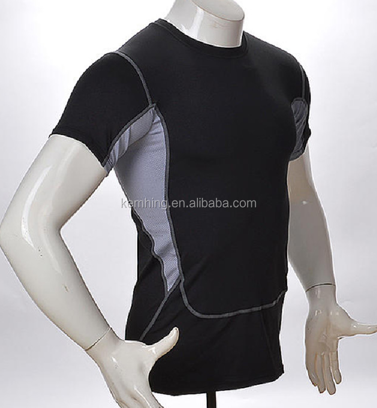 wholesale gym fitness clothing men sports wear quick dry compression wear fitness shirt