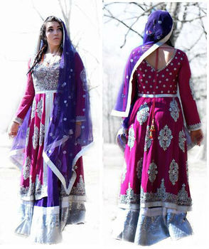 Pink and blue silk hand embroidered lehenga choli