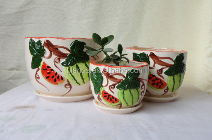 ceramic fruit shape flower pot with watermelon