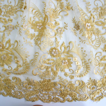 2017 New design french gold tulle lace fabric 3d flower embroidery beaded lace with full pearls HY0642-5