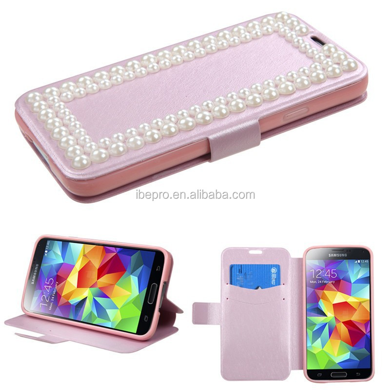 2014 Hot Products Diamond Magnetic Bling Wallet Leather Flip Case Cover for Samsung Galaxy S5