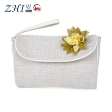 New style nature cotton cosmetic bag with decorate flower
