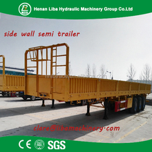 Direct Factory Liba Brand Top Quality Wall Side Truck Trailer Tri-Axle Flat Bed Truck Trailer Myanmar Market
