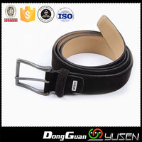 China manufacturer Guangdong Wholesale mens fabric suede leather belt with logo embossed