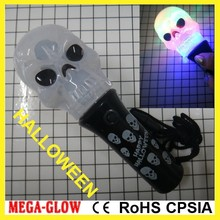 11.5cm with lanyard 2015 custom logo LED Flashing spinning halloween skull
