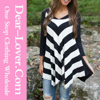 ladies tops images Black White Stripes Irregular latest fashion blouse design
