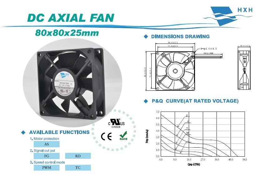 Sleeve and Ball bearing computer case cooling fan 80*80*25mm 8025 brushless fan