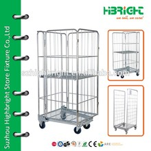 Market Transport Trolley Steel Moving Cart With 4 Wheels