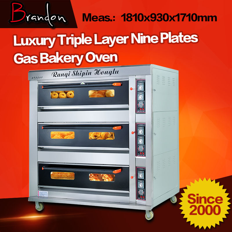 Brandon lpg gas bread oven bakery with 9 trays
