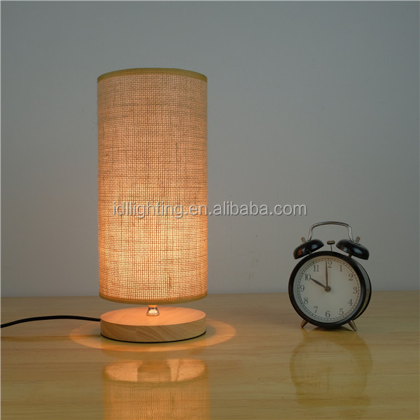 Multiple wooden base linen fabric table lamp/customized small indoor table lamp
