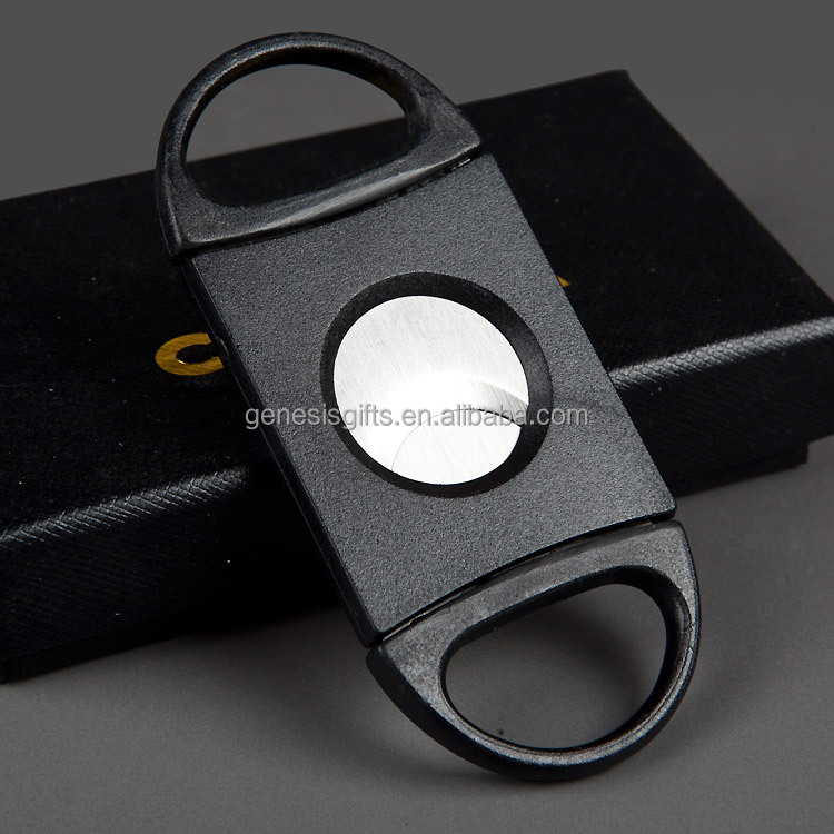Plastic Handle Metal Dual Blades Wholesale Cigar Cutter Black Cigar Scissors Custom Logo Cutter