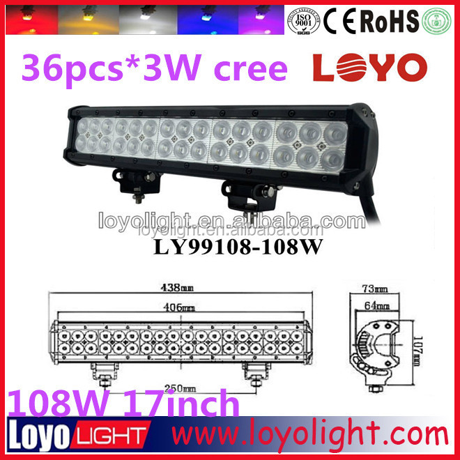cars accessories 12v 108W 17inch driving sxs hot 4x4 led light bar