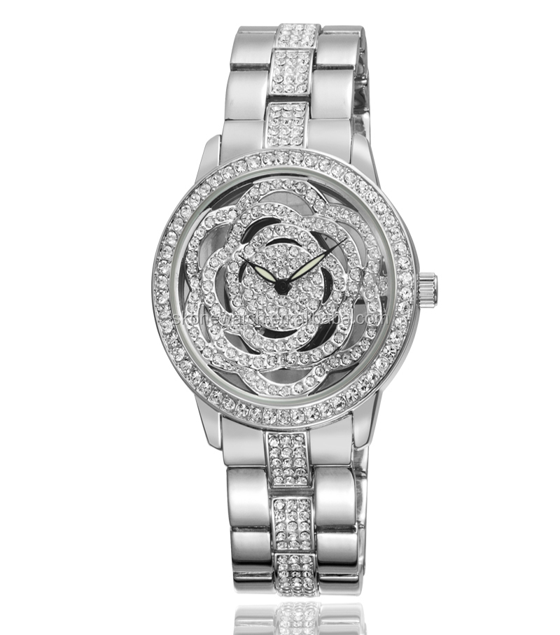 diamond wrist watch gold luxury wrist alloy lady fancy watch