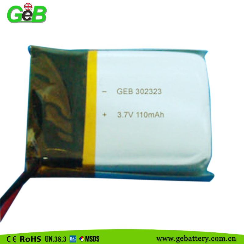 Low price long cycle life 110mah 3.7V 302323 small lithium polymer battery