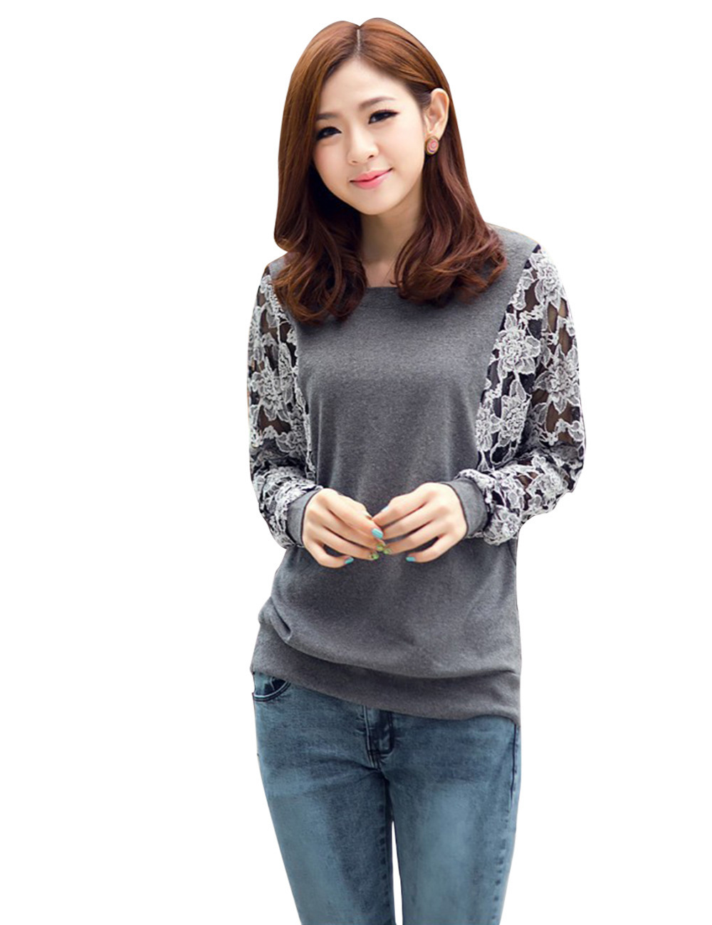 Women's T-shirts Long Sleeve Crew Neck Batwing Dolman Lace Hollow Casual Loose Tops T-Shirt Wholesales Shirts Free Shipping
