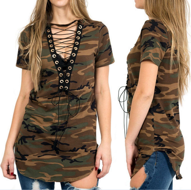 Women Camouflage Short Sleeve Shirt Casual Blouse Loose Tops T- Shirt
