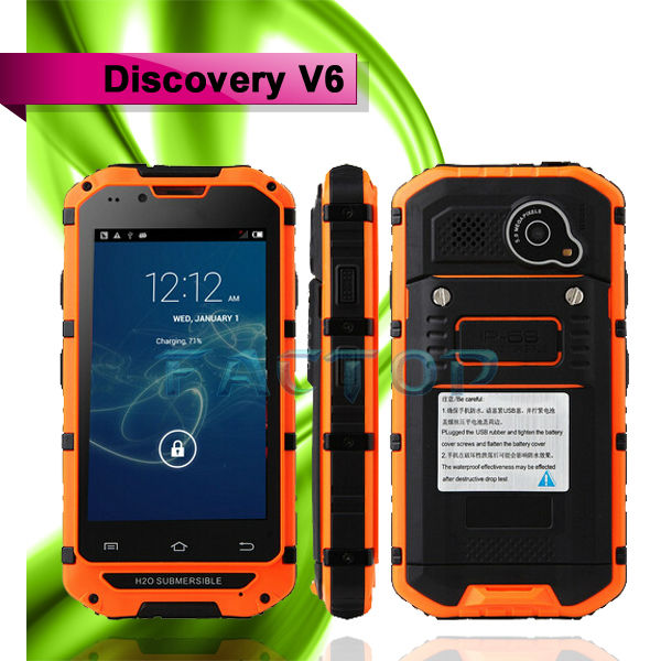 Discovery V6 ram 512 rom 4gb dual core waterproof china android 4.2 ipro cell phone